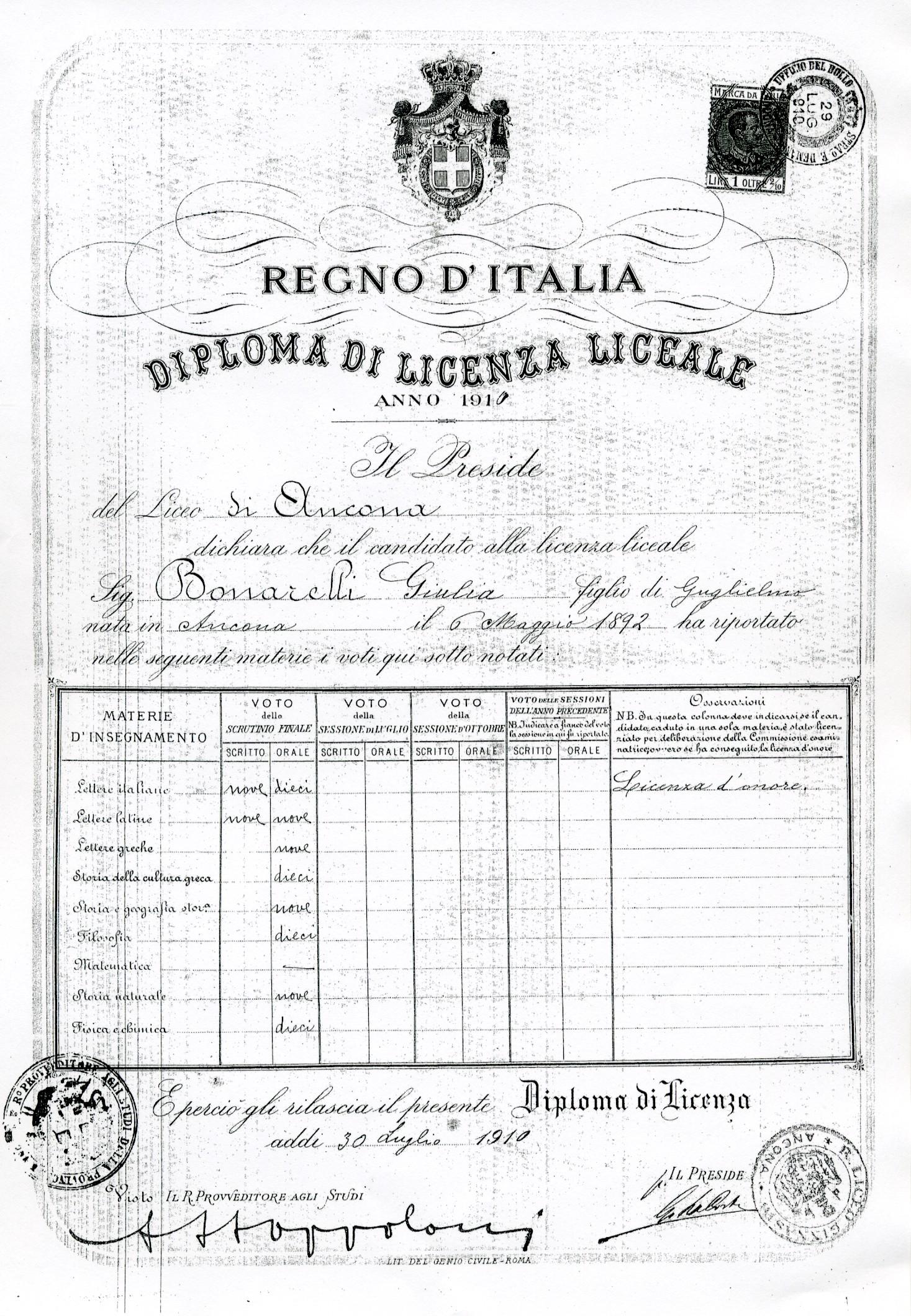 """GLI STUDI 30 luglio 1910: si diploma con licenza d'onore al Liceo """"Rinaldini"""" di Ancona."""