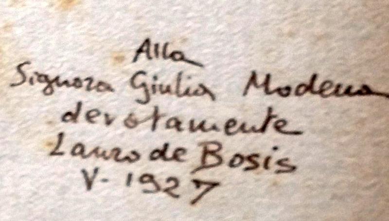 DAL FONDO MODENA DELLA BIBLIOTECA BENINCASA dedica di Lauro De Bosis a Giulia Bonarelli, in Antigone   :   tragedia   /   di   Sofocle   ;   tradotta   da   Lauro   De   Bosis.   - Roma : Il convivio, 1927.  MOD. 1096